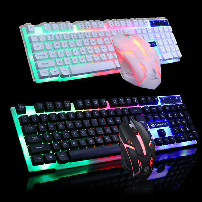 Rainbow Backlight USB Ergonomic Gaming Keyboard and Mouse Set for PC Laptop PS4.