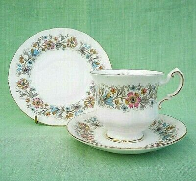 Paragon Meadowvale bone china footed tea cup, saucer & side plate trio