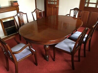 Fine Antique Elm Top Extending Dining Table + 8 x Chairs Excellent Condition