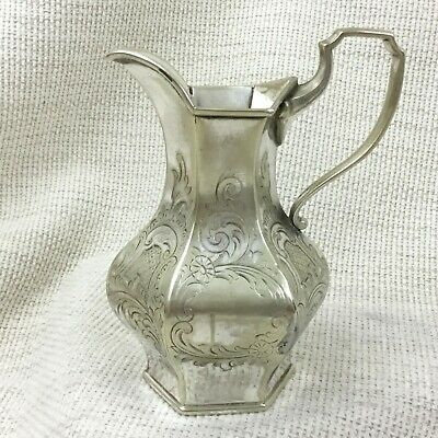 Antique Silver Plated Creamer Jug English Victorian Ornate Engraving Chased