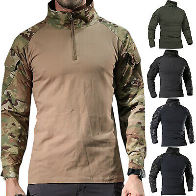 Mens Army Military Tactical Combat T-Shirt Hiking Camo Long Sleeve Outdoor Tops