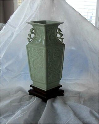 Antique Chinese Qing Imperial porcelain Celadon Glazed vase incised Dragon