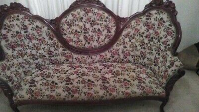 Victorian Kimball Furniture Set Sofa 2 Chairs Table Mahogany Rosewood Queen Anne