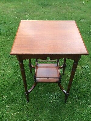 Antique Occassional Table With Under Shelf On Turned Legs.