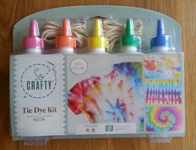 Tie Dye Kit X5 Colours Neon Rainbow Easy To Use With Extra Refills