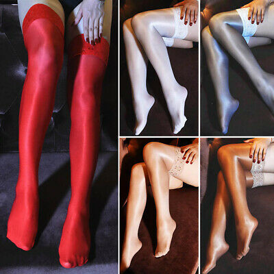 Womens Oil Shiny Glossy High Stockings Lace Silicone Stay Up Thigh-Highs Hosiery