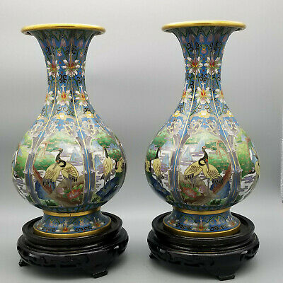 "10""H Mirror Pair of antique Chinese cloisonne Pear Shaped vases"