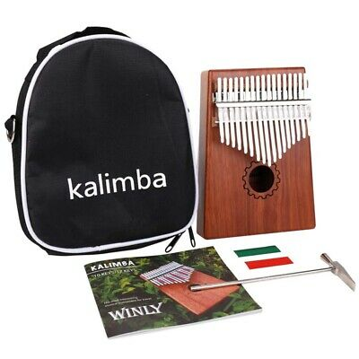 Kalimba Thumb Piano 17 Keys With Mahogany Wooden With Bag, Hammer And Music R4C8