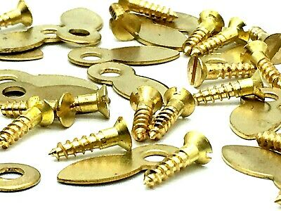 32 x PICTURE FRAME TURNS 19mm framing turn buttons EB brassed + screws (745)