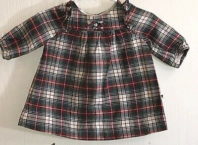 Baby Gap Baby Girl's Sz 0-3M Dress Long Sleeve Red/Green Plaid Lined Flowers EUC