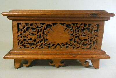 Antique CARVED Fretwork BOX BLACK FOREST Stag Deer Edelweiss Flowers Folk Art