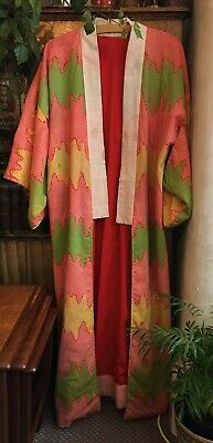 Japanese Vintage Traditional Designs Kimono Hand Stitched lined Lovingly Mended