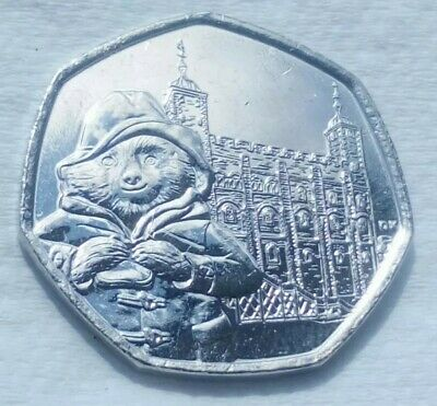 UNC 2019 PADDINGTON BEAR AT THE TOWER OF LONDON 50p COIN FROM SEALED BAG RARE