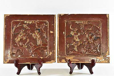Pair of Antique Chinese Red & Black Wooden Carved Panel, Qing Dynasty, 19th c