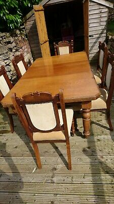 Antique Victorian Oak Crank Handle Extending Dining Table And Six Chairs