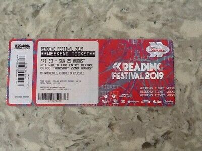 Reading Festival Weekend Ticket 2019-includes full weekend camping