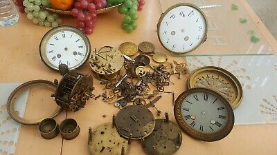 Antique Clock Parts Spares French Movement or restoration  glass & bezel