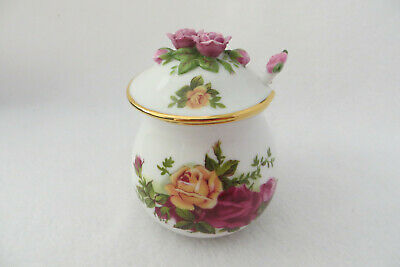 Royal Albert Old Country Roses Jam Jar With Spoon - Applied Flower Finial - New