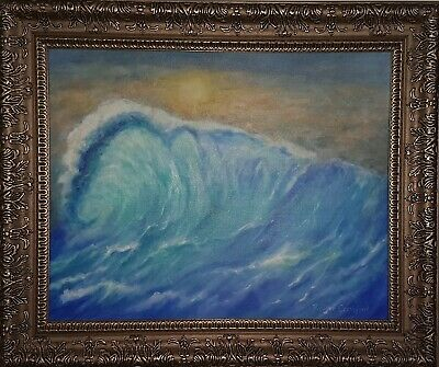"Catch a Wave Original Oil Painting Ocean Sea  Blue 16x20"" Framed FREE SHIPPING"