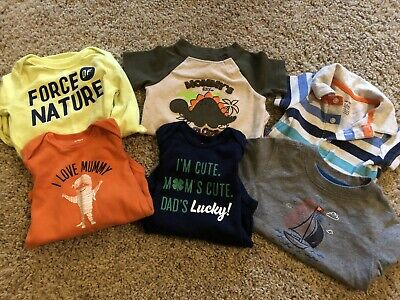 Baby Boy 12 Month Lot Of 6 Tops - Bodysuits And T Shirts