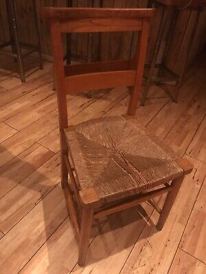 Antique .  Rush Seated Church Chairs - Chapel Chairs - Reclaimed Old Seats