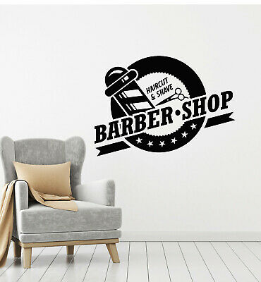 Vinyl Wall Decal Haircut Shave Barber Shop Inscription Scissors Stickers (g1329)