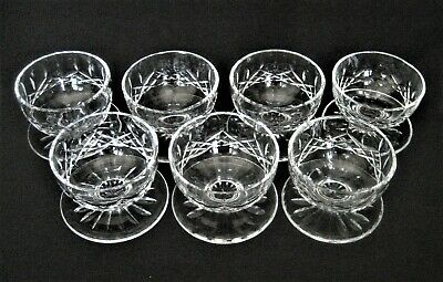 WATERFORD Cut Crystal  LISMORE Pattern  7- FOOTED DESSERT BOWLS / CUPS  Sherbet