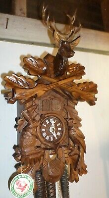 Mint German Black Forest Hubert Herr Musical Hunter Deer Carved Cuckoo Clock!
