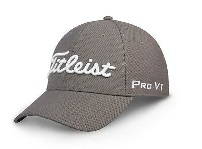 NEW Titleist Tour Elite Legacy Mesh Charcoal/White M/L Fitted Golf Hat/Cap