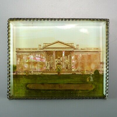 Unusual White House Washington DC Inlaid Mother Pearl Antique Jewelry Top Box