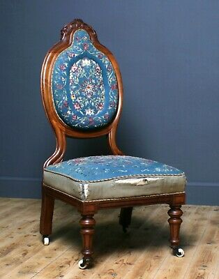 Attractive Antique Victorian Upholstered Mahogany Fireside Nursing Chair