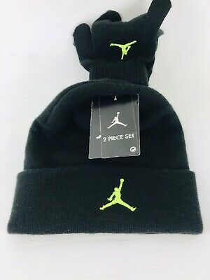 97007bd10 JORDAN HAT AND Gloves 2pc Set Boys Size 4-7 Black And Red - $20.00 ...