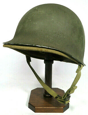 ORIGINAL WWII FIXED BALE / LOOP US M1 HELMET WITH 1st PATTERN HAWLEY FIBER LINER