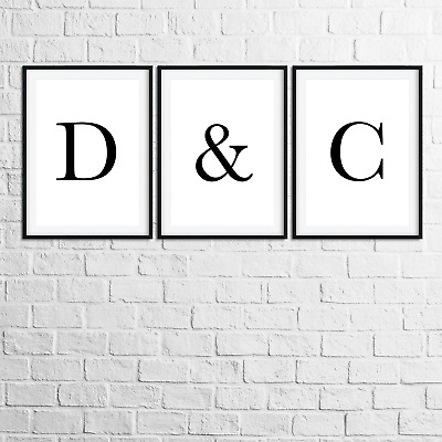 Monochrome Letter Print Personalised Initial Typography Home Wall Art Poster