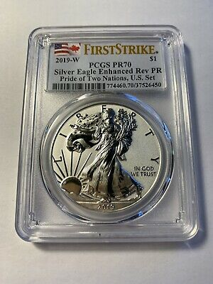 2019-W Pride of Two Nations $1 Silver Eagle Reverse Proof PR70 PCGS First Strike