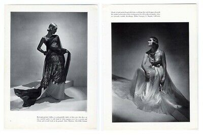 Evening Gowns HATTIE CARNEGIE Saks Fifth Ave 1937 Magazine Ad Page HORST