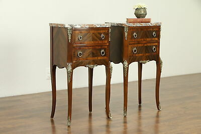 Pair of French Antique Rosewood End Tables or Nightstands, Marble Tops #31740