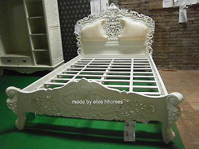 Ivory Cream  5' King Size French Baroque Louis style ....TOP Quality Rococo Bed