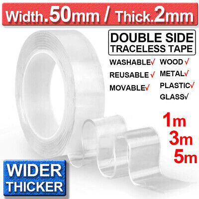 20/50mm Nano Magic Tape Double-Sided Traceless Washable Adhesive Invisible Gel