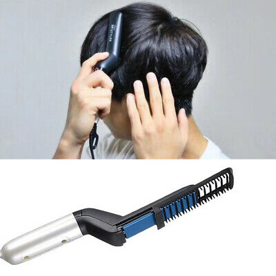 Men Quick Beard Straightener Multifunctional Hair Comb Curler Show Cap AU Local