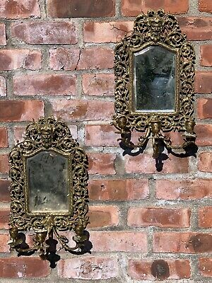 Gorgeous Pair Of Antique Brass 3 Candle Wall Sconces With Figural Bacchus Motif