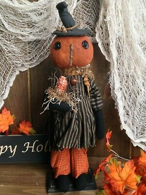 NEW! Primitive Handmade Halloween/ Autumn Standing HILDA PUMPKIN HEAD WITCH Doll