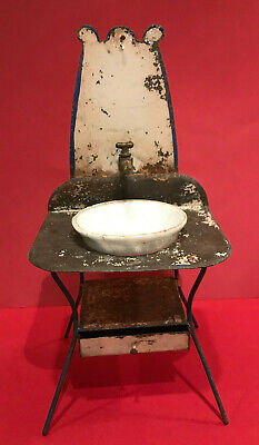 Antique Dollhouse Wash Stand Tin Porcelain Bathroom Sink w/ Basin Rare 1890s