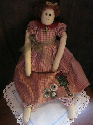 Sweet CountryHandmade Cloth Rag Doll.Only Ever Been On Display.Lovely Embroidery