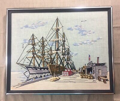 Vintage Finished Crewel Embroidery Clipper Ship Fishing Port Wharf Framed Art
