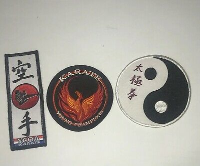 Martial Arts Embroidered Patch Karate Tae Kwon Do Yin Yang Nunchucks Tiger New