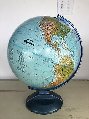 "Replogle Globe Earth World Ocean Series 12"" Diameter Vintage Blue Plastic Stand"