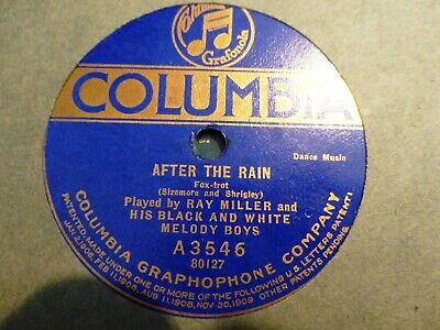 1920  Ray Miller Orch Black & White Melody Boys BROKEN TOY/  After the Rain 78