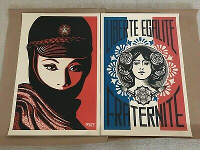 Liberte Egalite Fraternite & Mujer Fatale - Shepard Fairey - Obey Offset 24x36