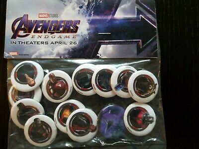 Avengers Endgame 2019 Movie Film Official Promo Pins Buttons Pack Rare